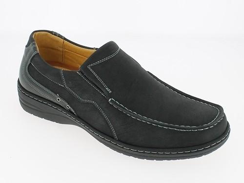 .He.-Schuh, Slipper, PU, Ziernieten seitlich, TPR-Sohle, schwarz