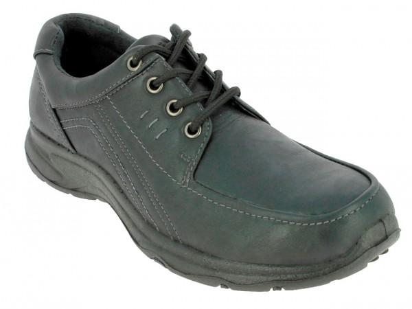 .He.-Schuh, Schnürer, PU, abgesteppt, PU-Sohle, schwarz
