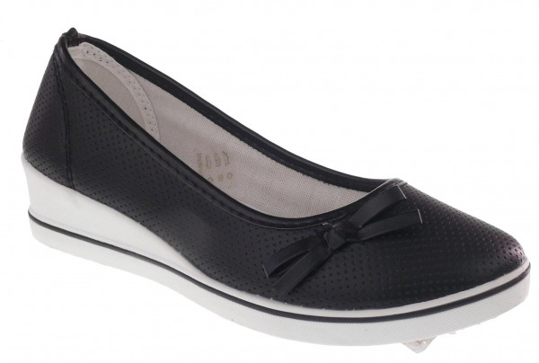 Da.-Schuh, Slipper, PVC-Sohle, kleine Zierschleife, perforiertes PU, schwarz