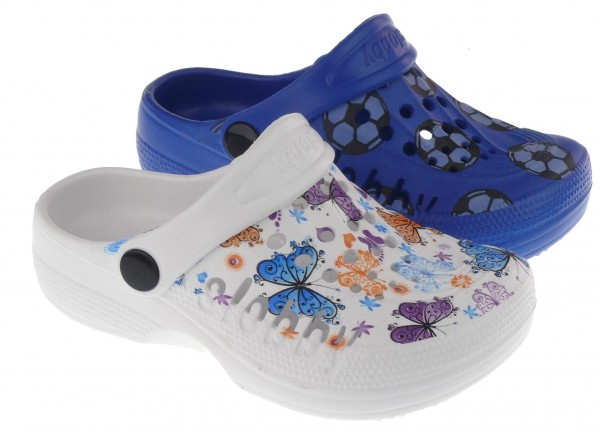 Ki.-EVA Clogs, SLOBBY, mit Schmetterlingen / Fußbällen, weiß+blau