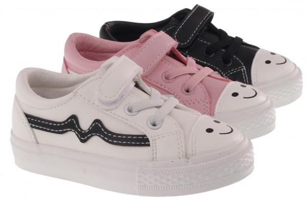 .Ki.-Freizeitschuh, Gummi-Sohle, Gummizug+Klett, Smiley, Soft-PU, weiß+pink+schwarz