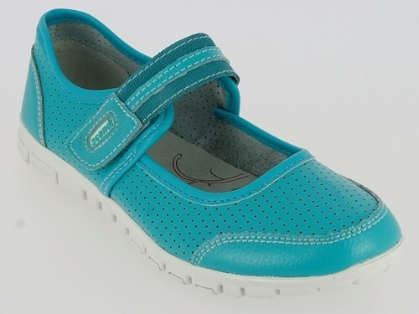 .Da.-Schuh, 1x Klett, Leder, Lederinnenausstattung, RB-Sohle, hell-blau