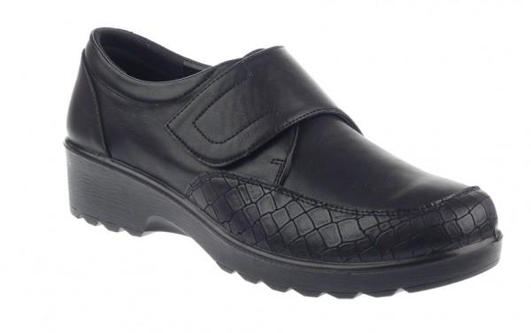 .Da.-Schuh, PU-Sohle, Klettverschluss, PU, Schlangenmuster teilw., schwarz