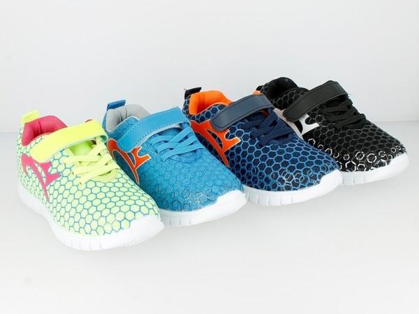 .Ki.-Sportschuh, PU/Mesh, 1 x Klett, Gummizug, m.Wabenmuster, EVA-Sohle, navy-orange + hl.blau-orang