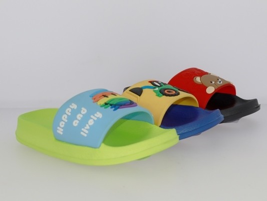 .Ki.-Badepantolette, EVA, Bandage aus Gummi m. Teddy/Smiley/Trecker, schwarz-rot + grün-hl.blau + dk