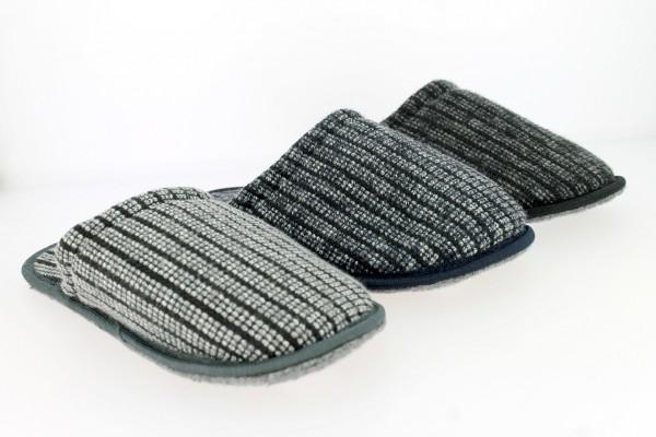 He.-Pantoffel, Filz-Sohle , Textil, beige + grau + schwarz