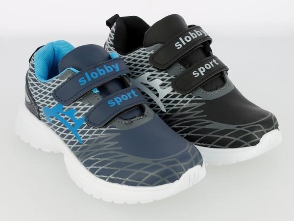 Ki.-Sportschuh, Phylon-Sohle, 2 x Klett, PU, bedruckt, grau-blau + schwarz-grau