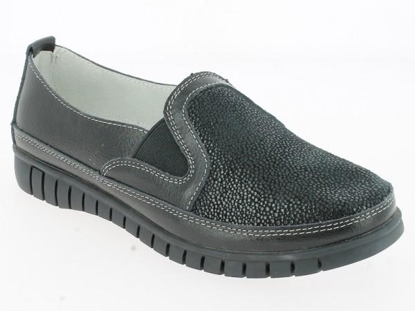 .Da.-Schuh, Slipper, Gummiprofilsohle, 2 x Gummizug, Leder, vorn geprägt, Lederinnenausst., schwarz