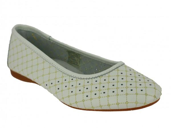 .Da.-Schuh, Leder, Slipper, Lederinnensohle, Lochmuster, Rubber-Sohle, weiß