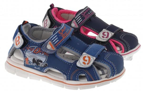 Ki.-Sandalette, EVA-Sohle, 2 x Klett, hinten Klett, vorn zu, PU, navy-fuchsia+blau-grau