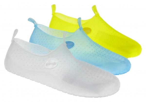 .Unisex-Badeschuhe, PVC, mit Löchern, weiß+neongelb+blau