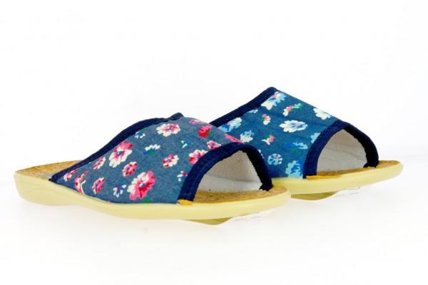 .Da.-Pantoffel, PU-Sohle, mit Blumenmuster, vorn offen, Textil, blau-rot+blau-weiß
