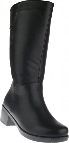 .Da.-Stiefel, TPR-Sohle, seitl. Reißverschluss, Blockabsatz, Warmfutter, PU, schwarz
