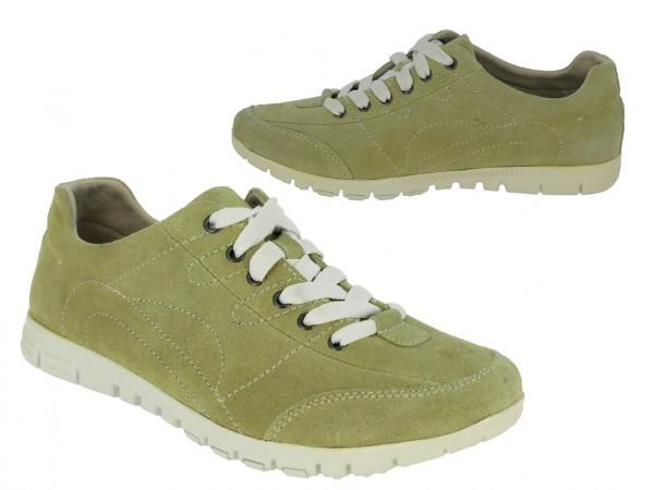 """.Da.-Schuh, Schnürer, Wildleder, """"Becker-Logo"""", Lederinnensohle, weiße Rubber-Sohle, grün"""