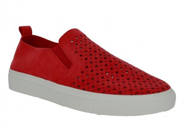 .Da.-Schuh, Gummi-Sohle, Slipper, Lochmuster, 2x Gummizug, Leder-Wechselsohle, Microfaser, rot