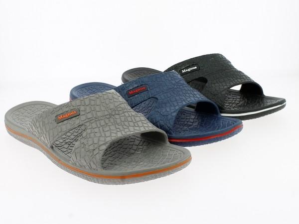 He.-Badepantolette, EVA, gemustert, blau + grau + schwarz