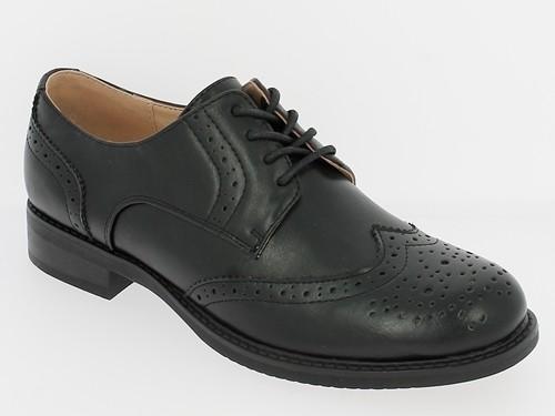 .Da.-Schuh, Schnürer, Ziernähte, Lochmuster, PU, TPR-Sohle, schwarz