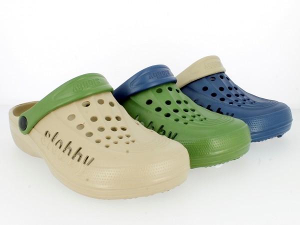 Da.Bu.-Clogs, m. runden Löcher, mit Riemen, Slobby, EVA-Mat., navy-beige+grün-navy+beige-grün