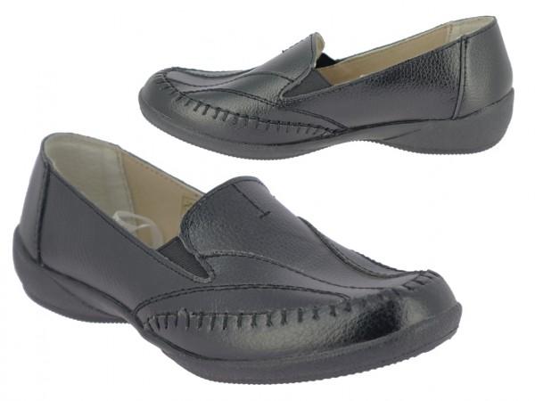 .Da.- Schuh, TPR-Sohle, Leder, Slipper, Lederinnenausstattung, 2 x Gummizug, schwarz