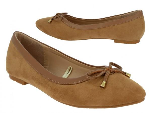 .Da.-Schuh, Slipper, Ballerina, Wildleder-Imitat, m. Schleife, TPR-Sohle, braun