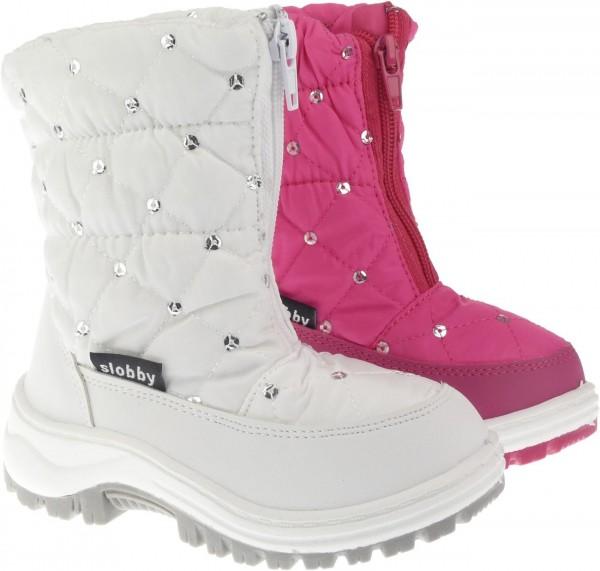 .Ki.-Stiefel, PVC-Sohle, Reißverschluss, Nylon, Warmfutter, Pailletten, Ziernähte, weiß + fuchsia
