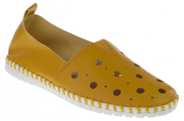 .Da.-Schuh, ultraflex. Gummisohle, Gummizug mittig, großes Lochmuster, Leder-Wechselsohle, PU, gelb