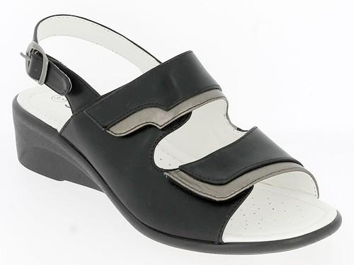 .Da.-Sandalette, PU, 2 x Klett, Sling mit Schnalle, PU-Sohle, schwarz