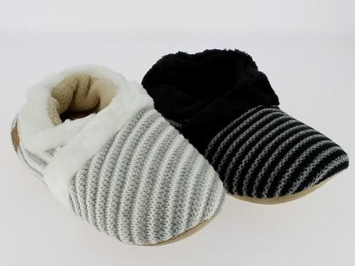 .Da.- Hausschuh, Textilsohle, Fellrand, gestreift, Strick, grau + schwarz