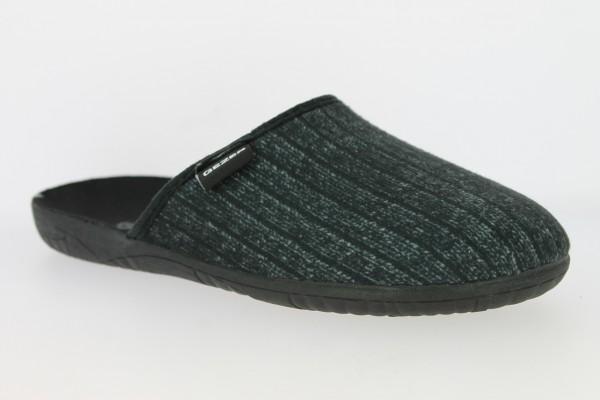 .He.-Pantoffel, TR, Textil, PVC-Sohle, schwarz