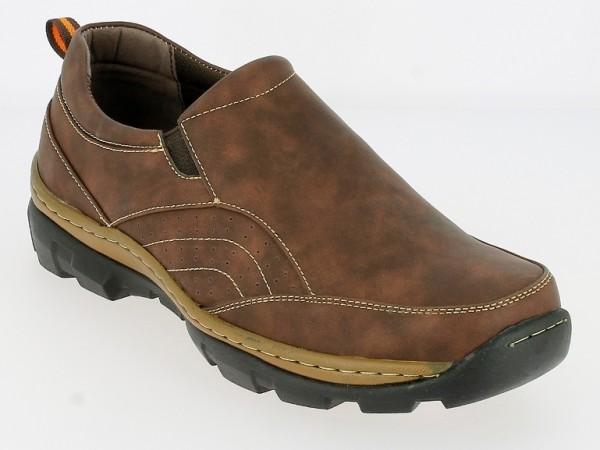.He.- Schuh, Slipper, PVC-Sohle, 2 x Gummizug, PU, Ziernähte, braun