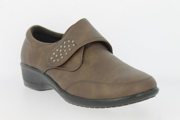 .Da.-Schuh, PU-Sohle, Klettverschluss mit Glitzersteinen besetzt, Ziernähte, PU, braun