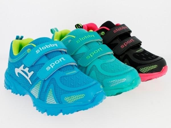 Ki.-Sportschuh, Becker-Logo, PU+Mesh, 2 x Klett, Phylon-Sohle, grün+blau+schwarz