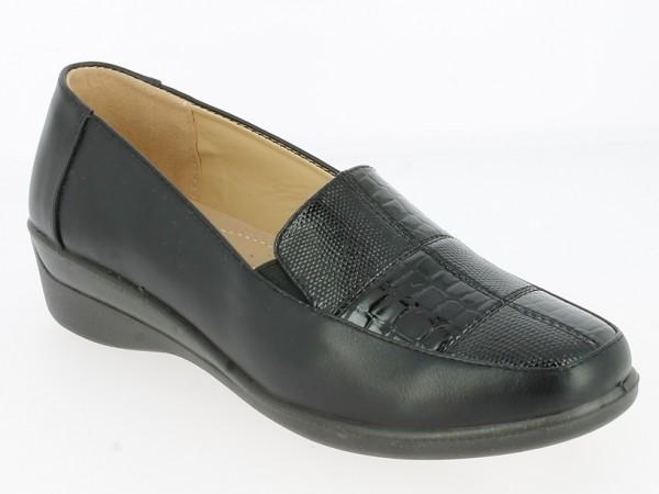 .Da.-Schuh, Slipper, PU-Sohle, 2 x Gummizug, Lackmuster vorn, PU, schwarz