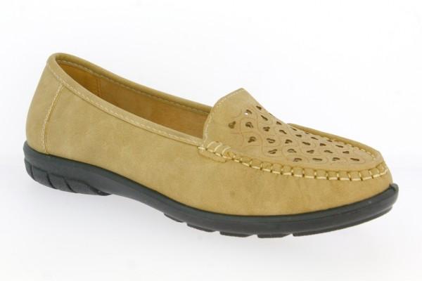 .Da.-Schuh, PVC-Sohle, Lochmuster vorn, PU, beige