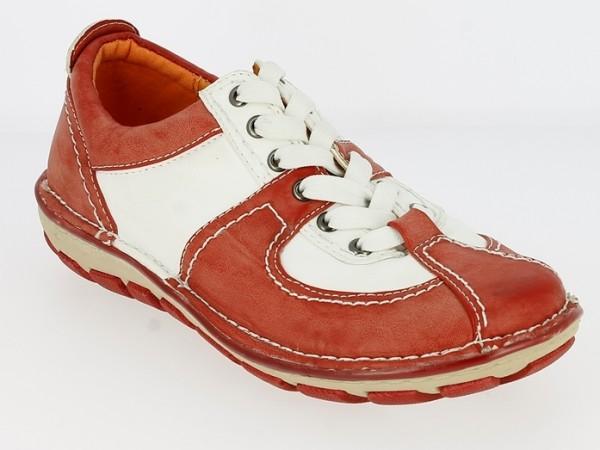 .Da.-Schuh, PU, Schnürer, TPR-Sohle, rot-weiß