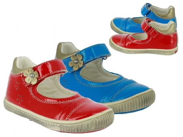 .Ki.-Schuh, Lack-PU, Riemen mit Klettverschluss, TPR-Sohle, rot+blau