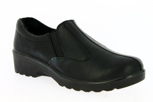 .Da.-Schuh, PU-Sohle, Slipper, 2x Gummizug, Warmfutter, PU, schwarz