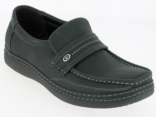 .He-Schuh, Slipper, PU, Lochmuster und Ziernähte, TPR-Sohle, schwarz