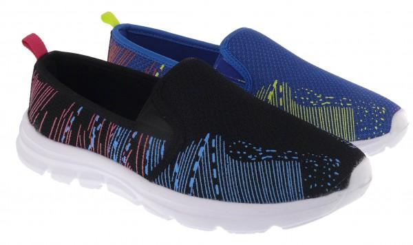 .Da.-Freizeitschuh, weiße EVA-Sohle, 2 x Gummizug, Mesh, bunte Streifen, blau+schwarz