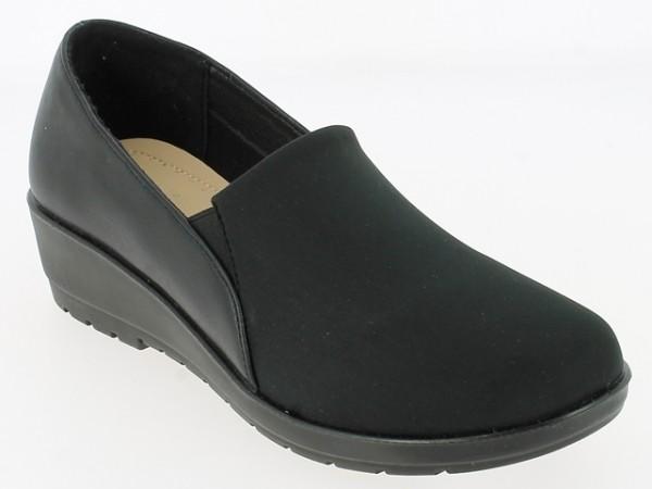 .Da.-Schuh, Slipper, PU-Sohle, 2 x Gumizug, Elastan + PU, schwarz
