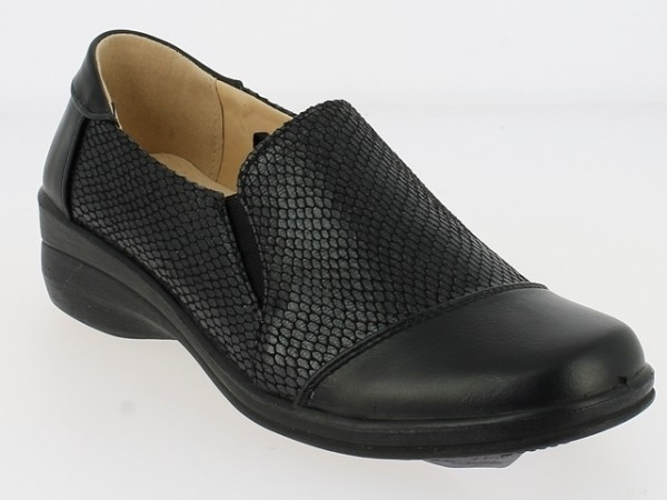 .Da.-Schuh, PU-Sohle, Keilabsatz, 2x Gummizug, mit Schlangenmuster, Lederinnensohle, PU, schwarz