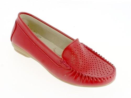 .Da.-Schuh, Slipper, Leder, Lochmuster, Lederinnensohle, Rubber-Sohle, rot
