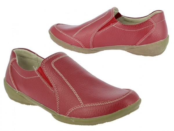.Da.- Schuh, TPR-Sohle, Leder, Slipper, Lederinnenausstattung, 2 x Gummizug, rot