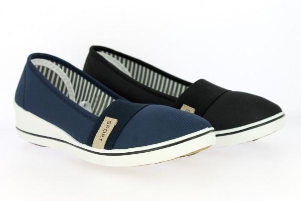 .Da.-Leinenschuh, Slipper, mit Logo Sport, 1 x Gummizug, PVC-Keilsohle, schwarz+blau