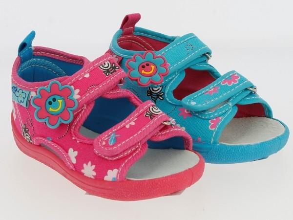 .Ki.-Sandalette, PVC-Sohle, 2 x Klett, Lederinnensohle, Textil m. Aufdruck, blau + fuchsia