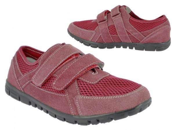 .Da.-Schuh, Leder, 2 x Klett, Lederinnensohle, Gummisohle, bordeaux