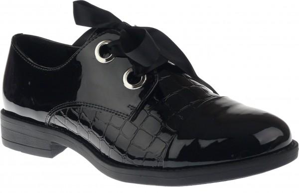 .Da.-Schuh, TPR-Sohle, Schnürer, Krokomuster, kl.Absatz, Lack/PU, schwarz