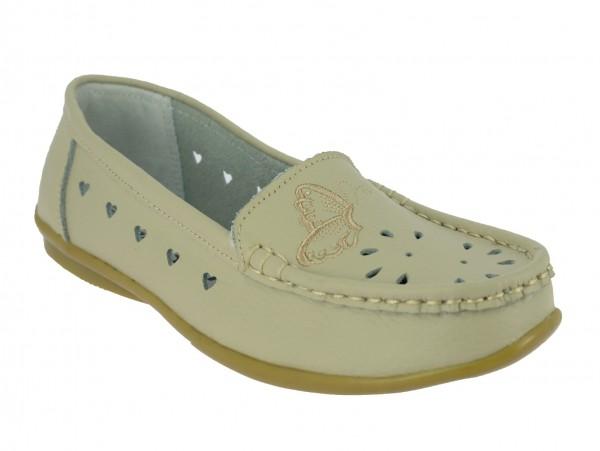 .Da.-Schuh, Slipper, Leder, TPR-Sohle, Lederinnensohle, m. Schmetterling, Lochmuster, beige