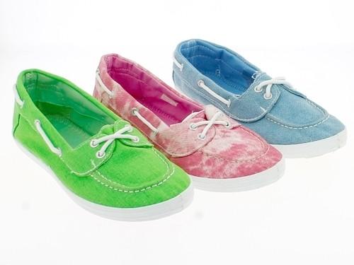 .Da.-Leinenschuh, PVC-Sohle, Slipper, m.Zierschnüre, grün + hl.blau + rosa-weiß meliert