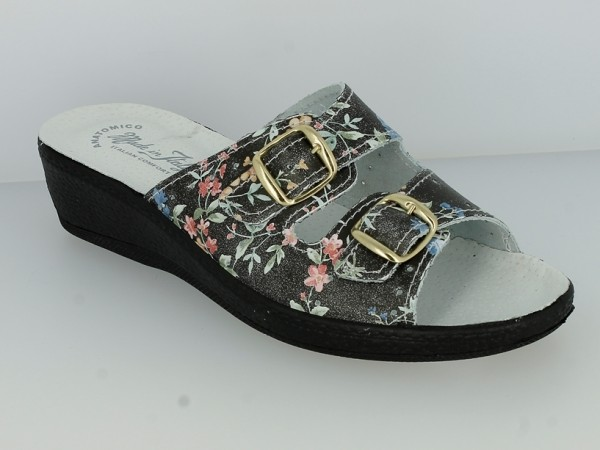 .Da.-Pantolette, IT, PU-Sohle, 2 x Schnallen, Lederinnensohle, Leder, mit Blumen, schwarz